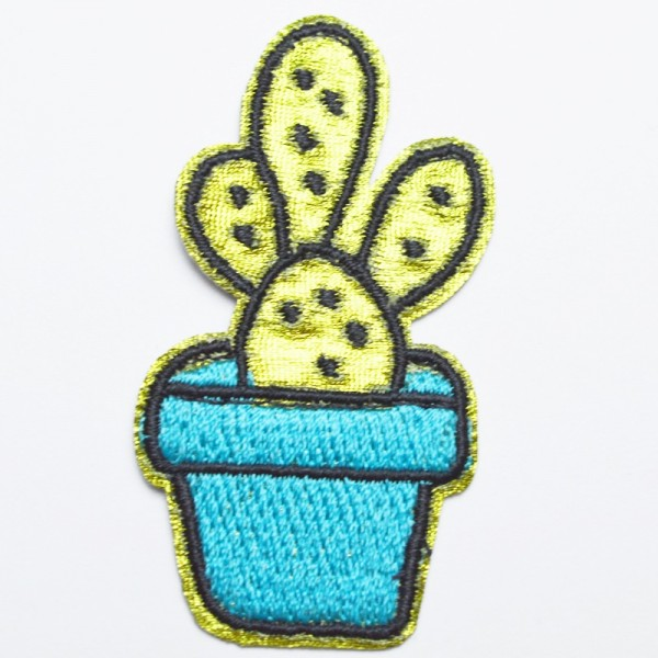 Applikation Kaktus türkis-grün