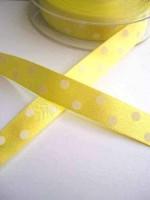 Satinband, polka dots, gelb, 15 mm