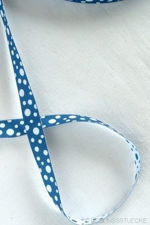 unregelmäßige Punkte, jeansblau-weiß, Webband