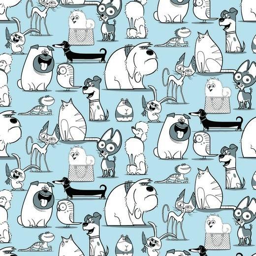 Pets auf hellblau, Jersey