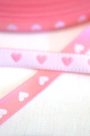schmales Herzchenband, rosa-weiß, Webband beidseitig