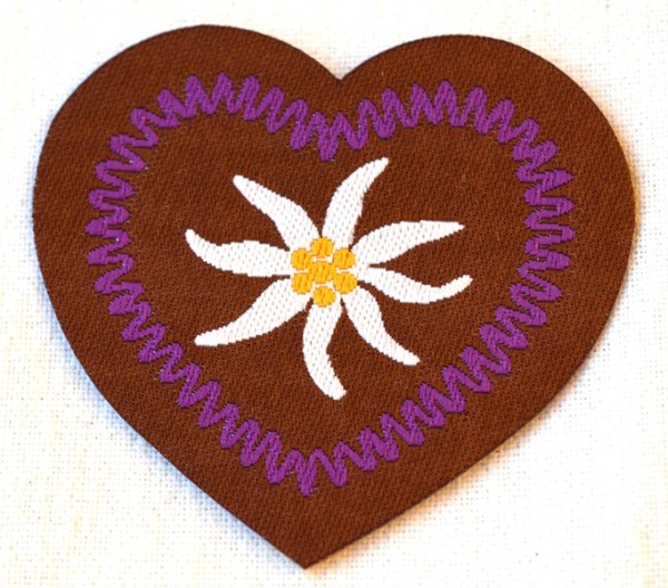 Applikation Herz mit Edelweiß, lila