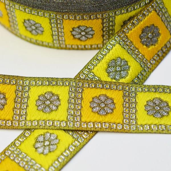 Jacquardborte Blume im Quadrat, lurex-gelb
