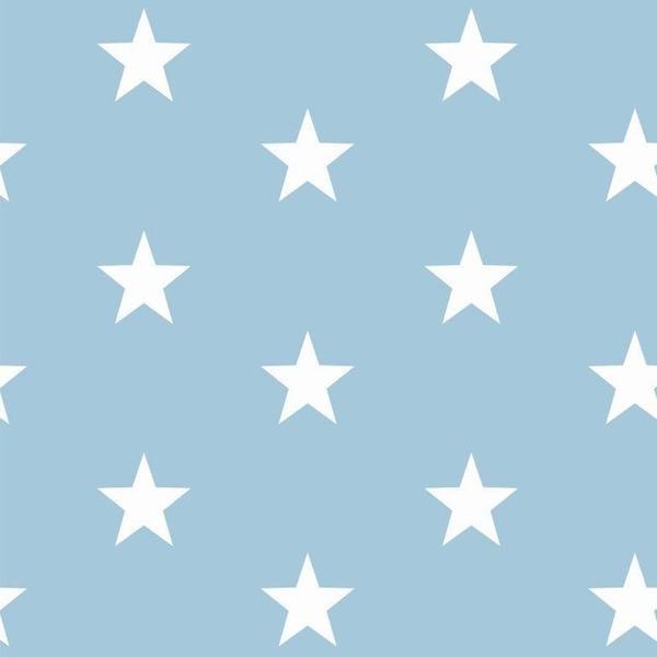 Lili Big Star weiß auf hellblau, Webstoff, waschbar bei 60°