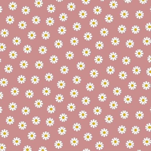Daisy Flowers auf dunkelrosa, Baumwollstoff, 60°waschbar