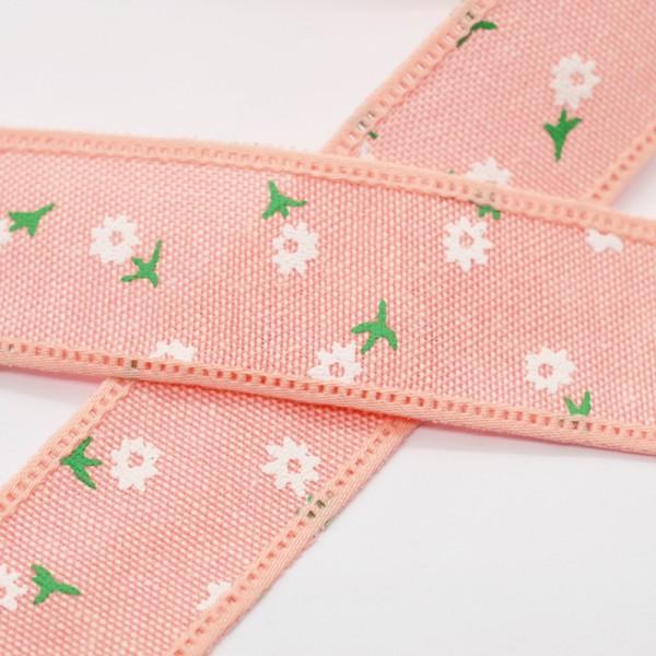 Blumen und Blätter, altrosa, Baumwollband