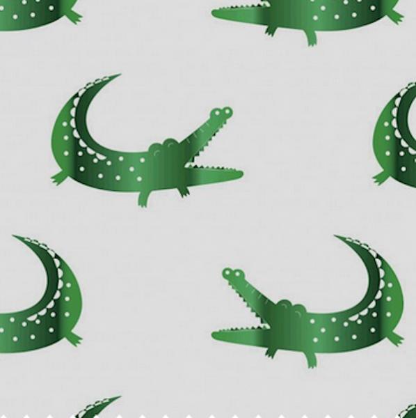 Glitzer-Krokodile auf grau, Jersey