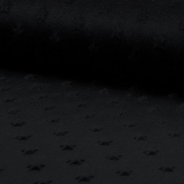 Minky-Fleece Sterne schwarz, *SALE*