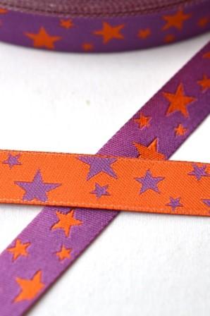 unregelmäßige Sterne, lila-orange, Webband beidseitig
