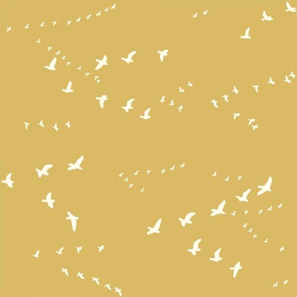 Birch, Bear Flight goldgelb, Bio-Webstoff, *Letztes Stück ca. 120 cm*