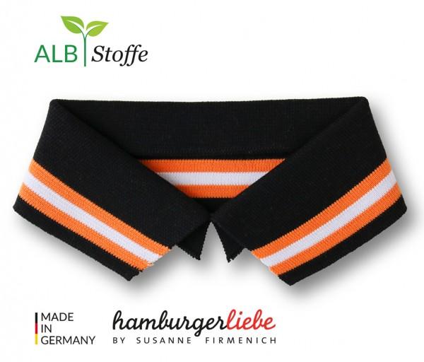 Polo Me Stripe, Polokragen, schwarz-orange, Größe M