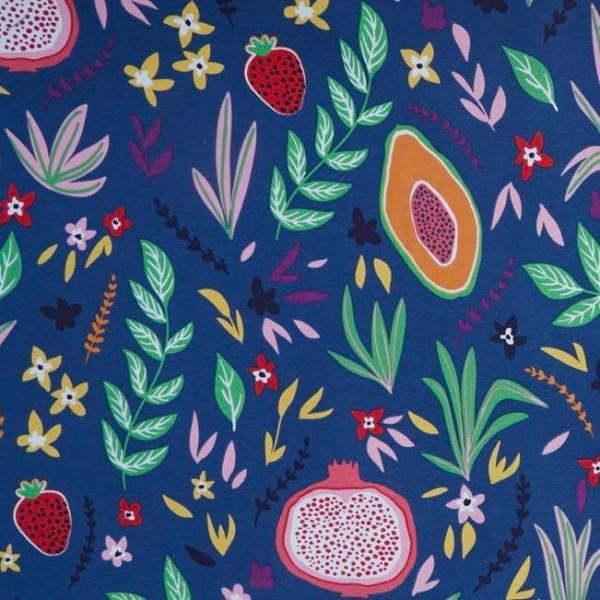 Tropical Fruits auf blau, Dekostoff