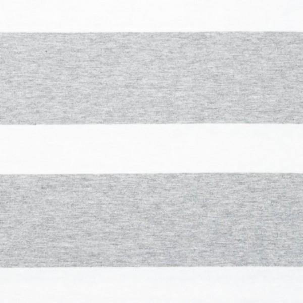 Bretone Streifen breit hellgrau-meliert-weiß, Jersey