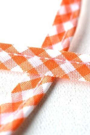 Paspelband, kariert, orange