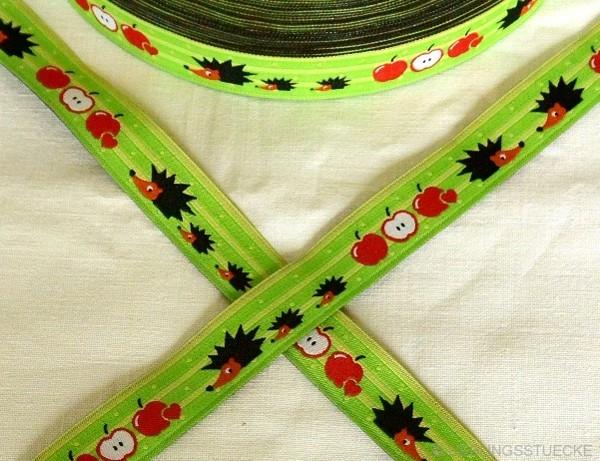 Igel und Äpfel, grün, Webband