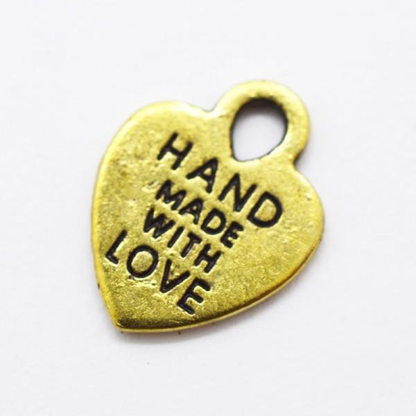Charm, handmade mit love, herzförmig gold