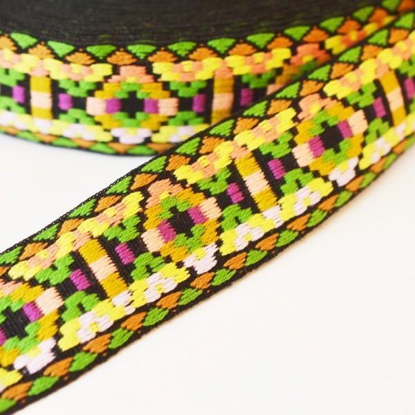 Inka, grün-lila, Webband breit