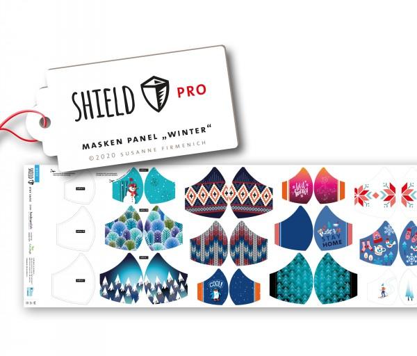 NEU! Maskenstoff Shield Winter/rund für 12 Masken, Paneel, Trevira-Jersey, waschbar bei 90°