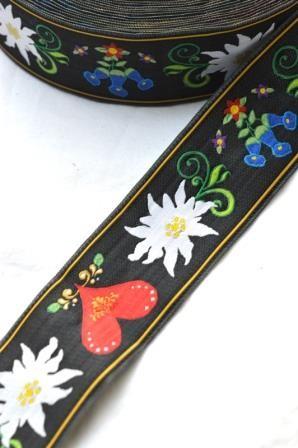 Edelweiss, schwarz, Webband
