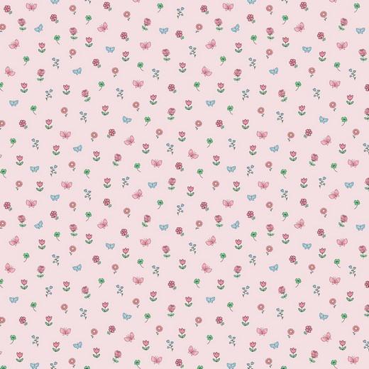 BIO-Baumwolllstoff, Kleine Blümchen rosa, waschbar bei 60°