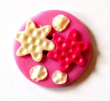 Pinki & Perl stars, Fimoknopf *SALE*
