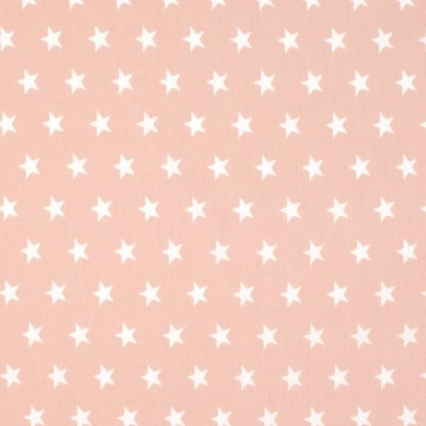 Mira Sterne weiss auf rosé, Webstoff