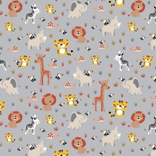 Sweet Animals auf grau, Baumwoll-Popeline, 60°waschbar