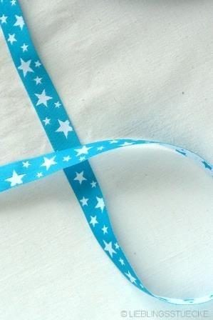 unregelmäßige Sterne, türkis-weiß, Webband