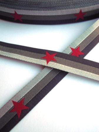 Sterneband, rot auf grau, Webband