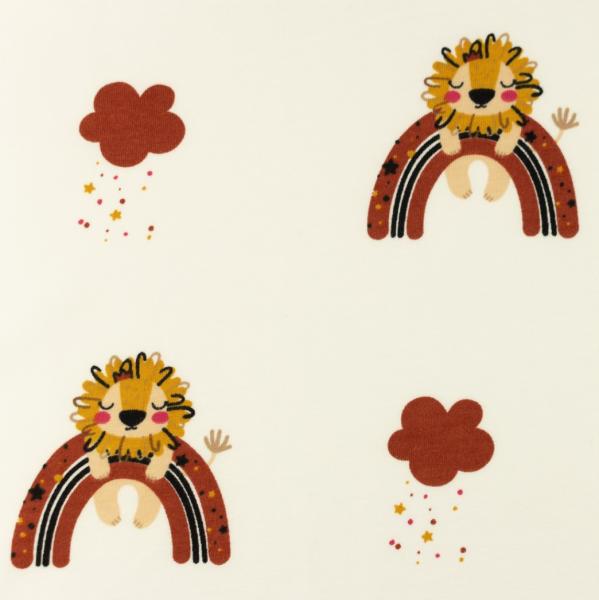 Jersey, Löwe&Regenbogen rostrot auf offwhite