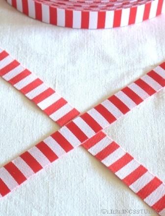 Ringelband, rot-weiß, Webband beidseitig *SALE*