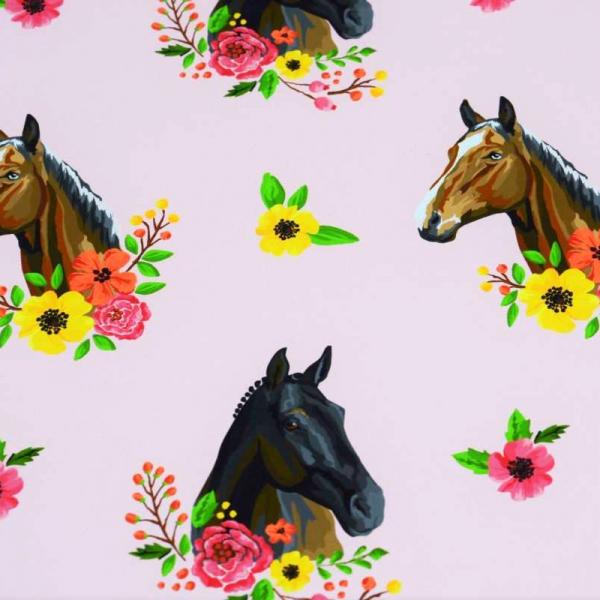 Pferde und Blumen, rosa, Sweat