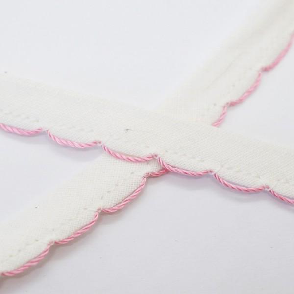 Stoffspitze mit rosa Rand, weiß