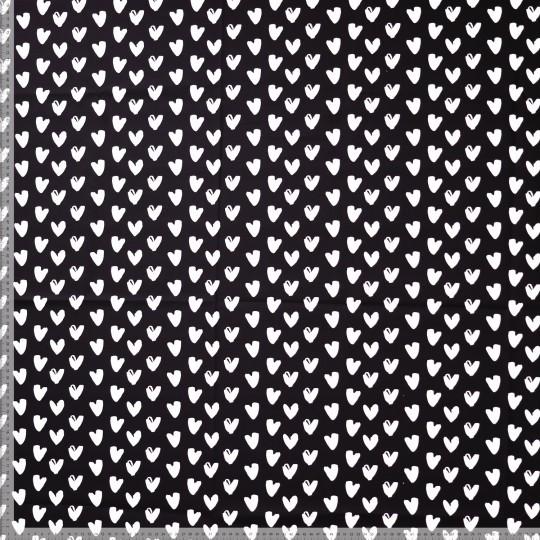 Hearts schwarz/weiß, Baumwollstoff