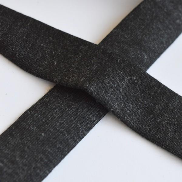 Viskosejersey-Schrägband, dunkelgrau-meliert