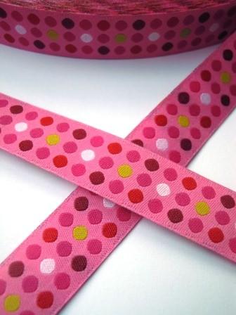 Punkte in drei Reihen, pink, Webband *SALE*