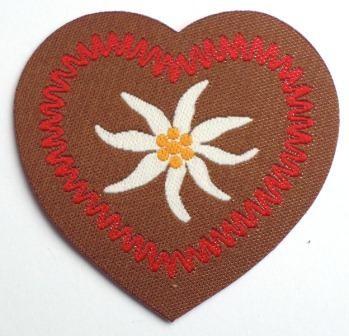 Applikation Herz mit Edelweiß, rot