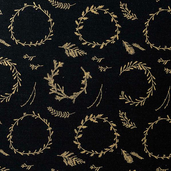 Gold-Kränze auf schwarz, Baumwollstoff
