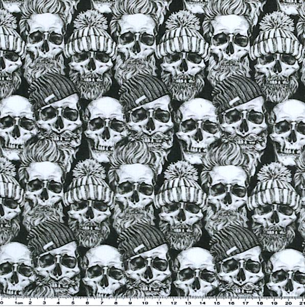 Skulls mit Mütze, Webstoff