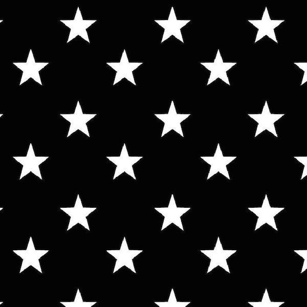 Lili Big Star weiß auf schwarz, Webstoff