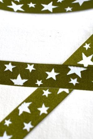 unregelmäßige Sterne, oliv-weiß, Webband