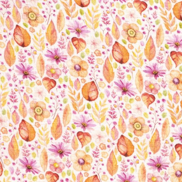 Double Gauze/Musselin, Blätter und Blumen orange/pink