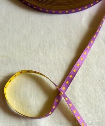 schmales Sternchenband, lila-gelb, Webband beidseitig