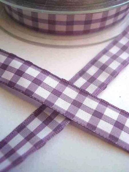 Stoffband, violett kariert (groß), 15 mm