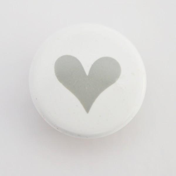 Druckknopf, Herz grau auf weiß, 10 mm
