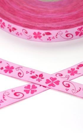 Kleeblatt, rosa, Webband