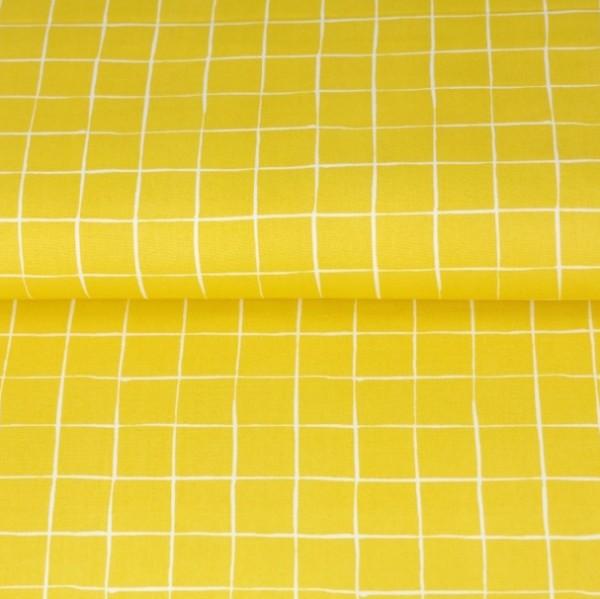 Stenzo Suny, Quadrate helles senfgelb-weiß, Popeline