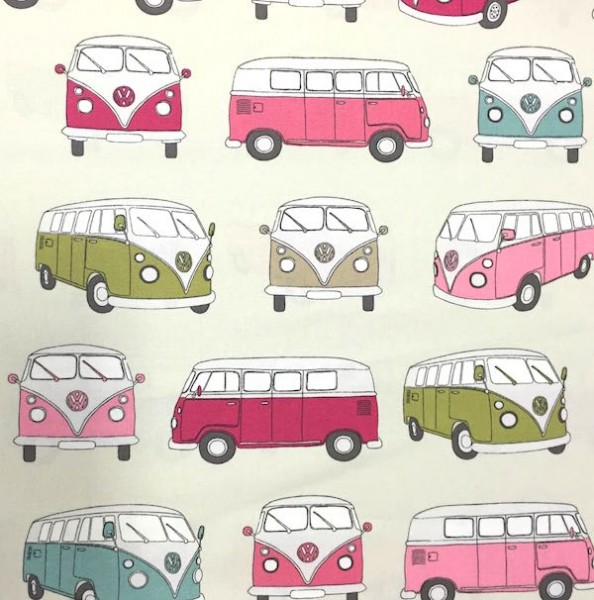 Dekostoff VW Campervan pink