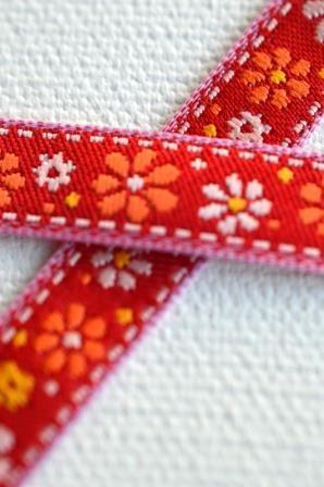 rote Blumenwiese, Webband schmal *SALE*