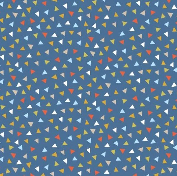 Baumwollpopeline, bunte Dreieckchen blau